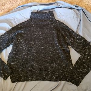 Crop top sweater black and silver
